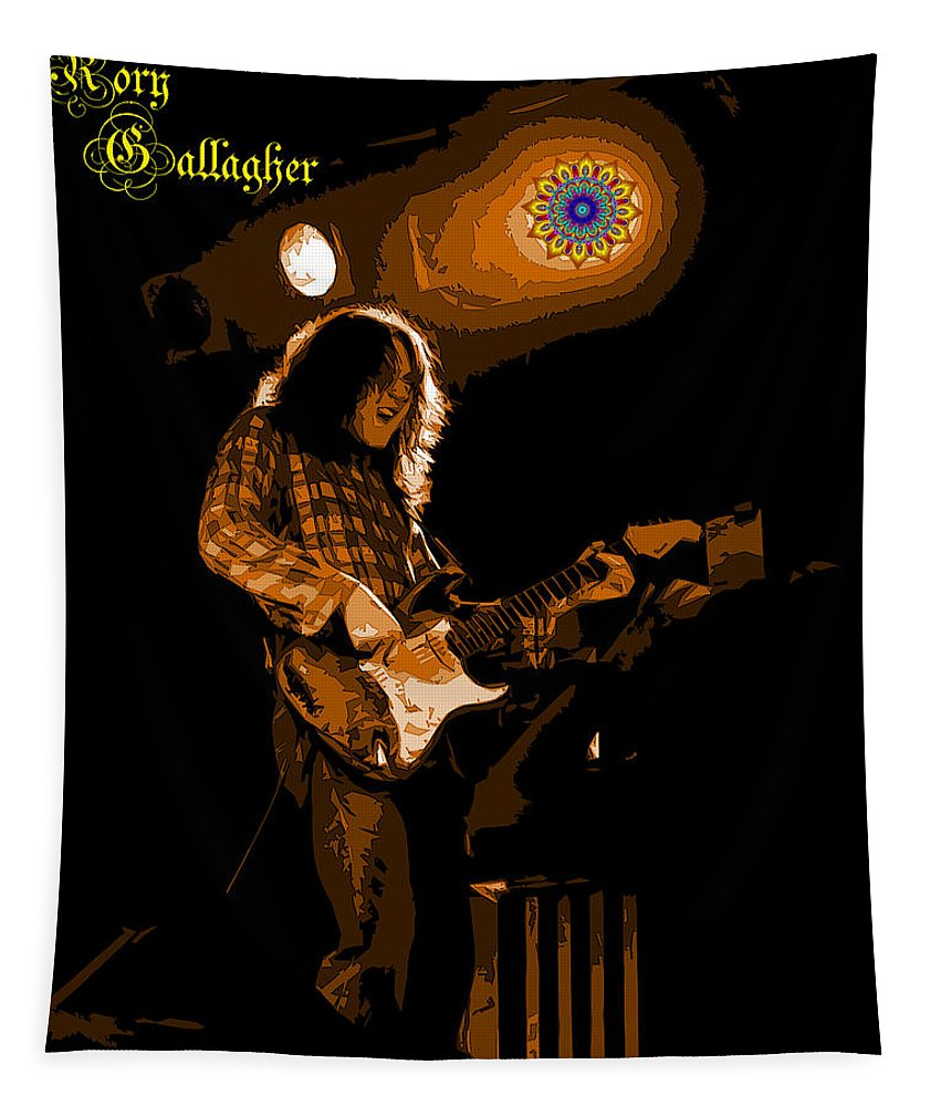 Guitarists Tapestry featuring the photograph Kent #83 In Amber With Text 2 by Ben Upham