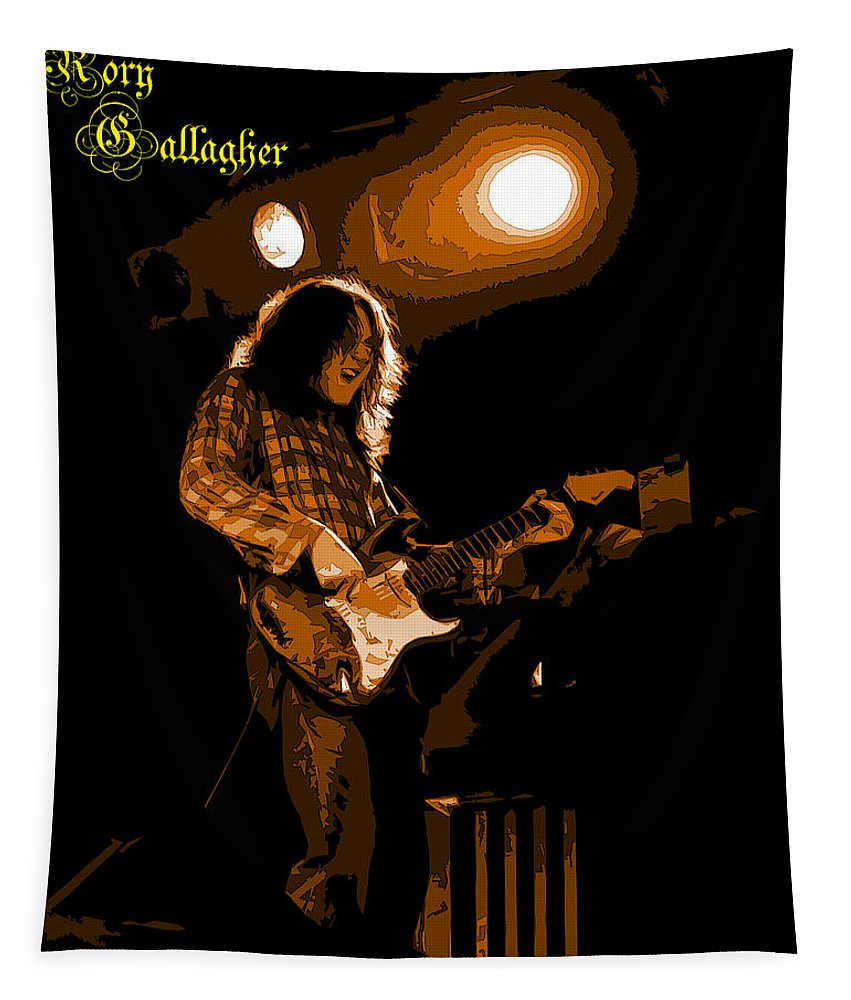 Guitarists Tapestry featuring the photograph Kent #83 In Amber With Text by Ben Upham