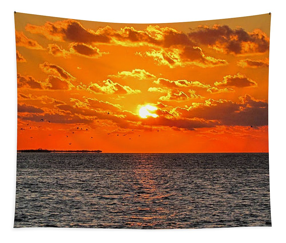 Sunset Tapestry featuring the photograph Key West Sunset 11 by Bob Slitzan