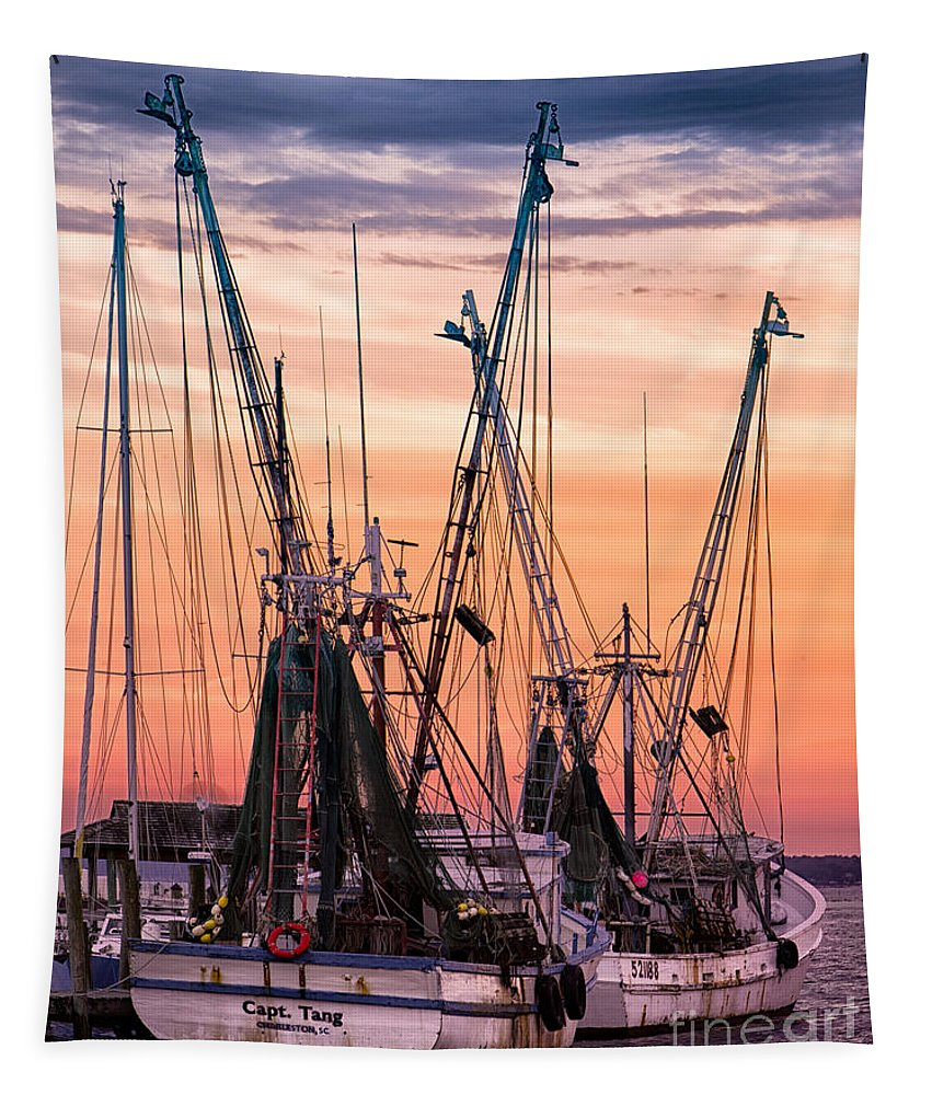 Boating Tapestry featuring the photograph Kiawah Shrimp Boats by Jerry Fornarotto