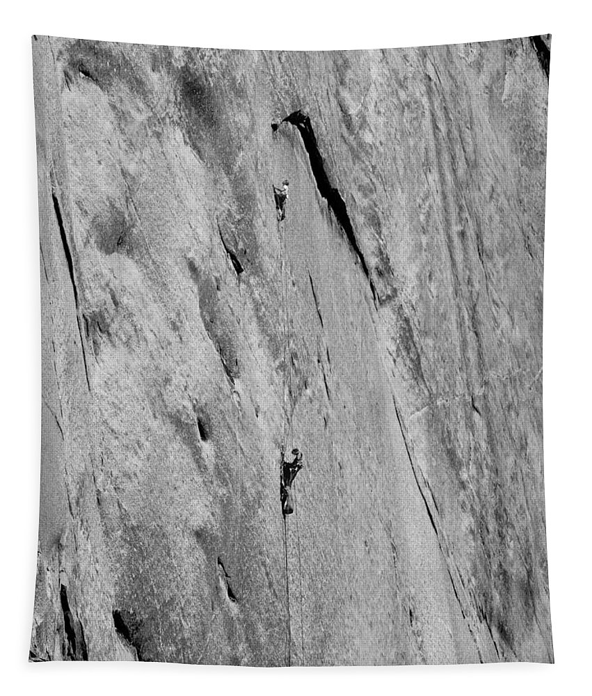 Kim Schmitz Tapestry featuring the photograph 1m6527-bw-kim Schmitz And Jim Bridwell On First Ascent Aquarian Wall El Capitan by Ed Cooper Photography