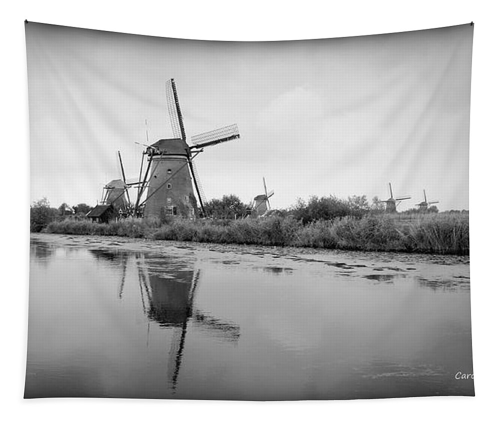 Holland Tapestry featuring the photograph Kinderdijk In Black And White by Carol Groenen