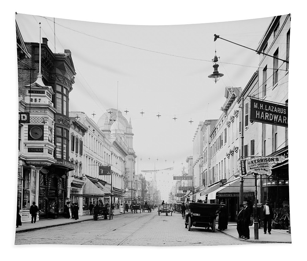 1910 Tapestry featuring the photograph King Street In Charleston South Carolina Circa 1910 by Mountain Dreams