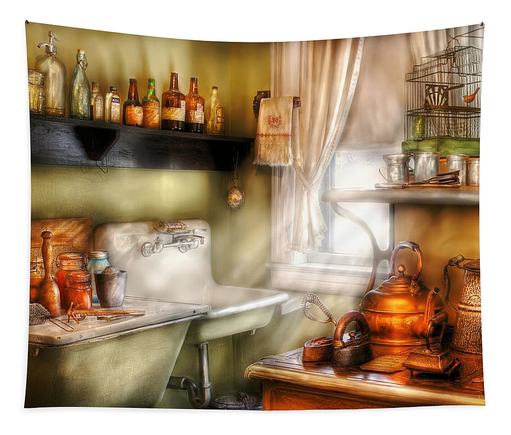 Chef Tapestry featuring the photograph Kitchen - Momma's Kitchen by Mike Savad