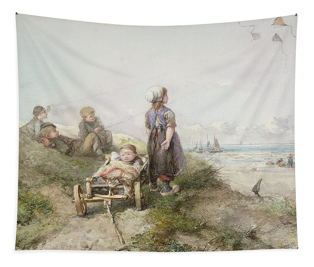 Sea Tapestry featuring the drawing Kite Flying by Jan Mari Henri Ten Kate