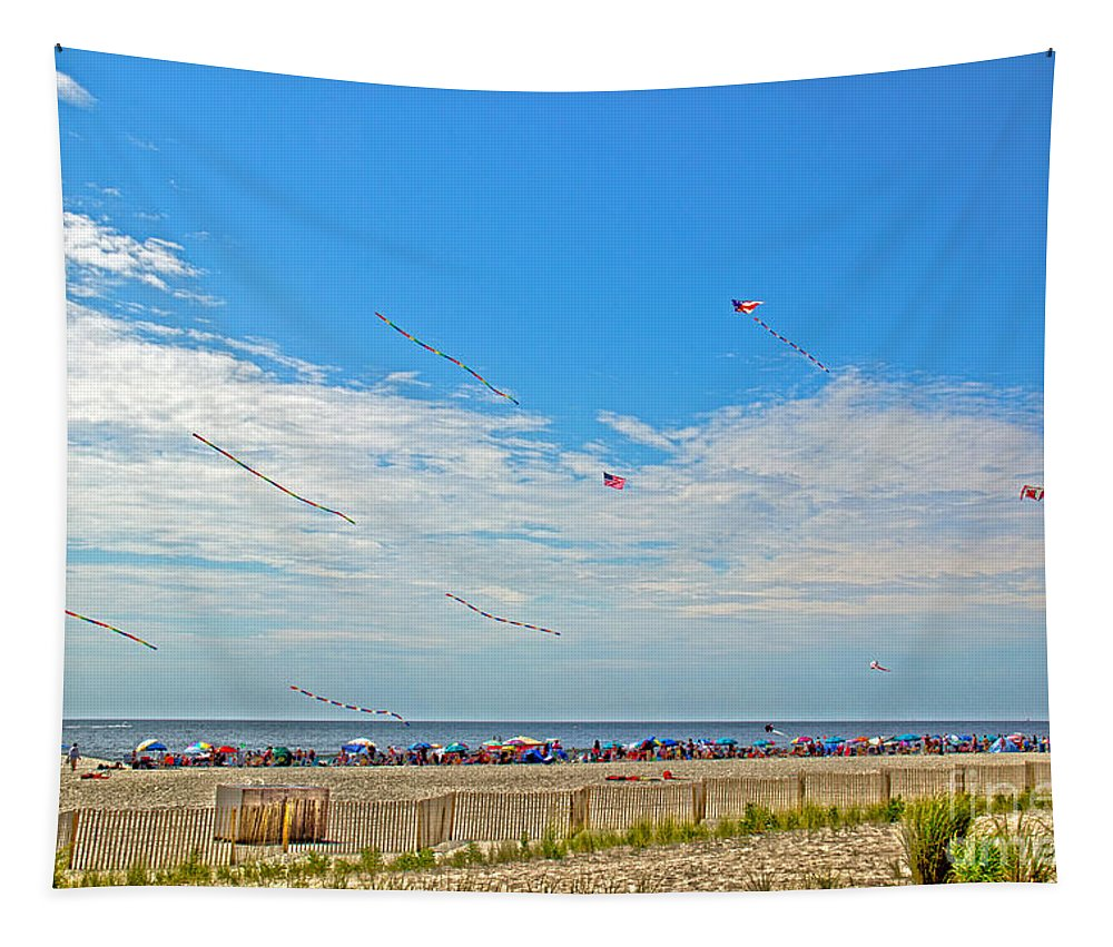 Nature Tapestry featuring the photograph Kites Flying Over The Sand by Tom Gari Gallery-Three-Photography