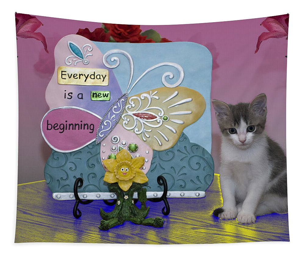 Animals Tapestry featuring the photograph Kitty Says Wow by Thomas Woolworth