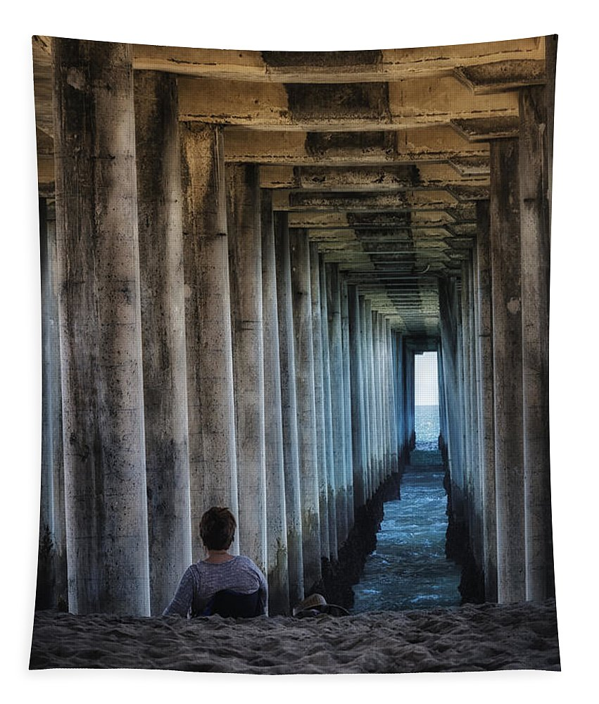 Joan Carroll Tapestry featuring the photograph Knitter Under The Pier by Joan Carroll