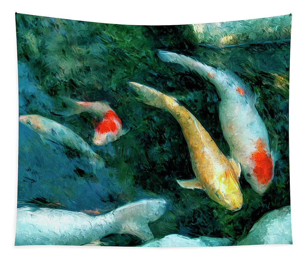 Koi Tapestry featuring the painting Koi Pond 2 by Dominic Piperata