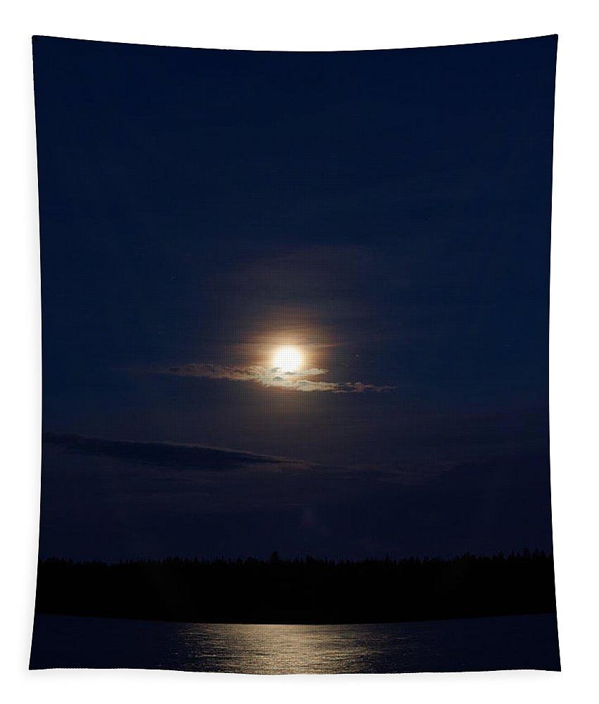 Finland Tapestry featuring the photograph Koirajarvi Moon by Jouko Lehto