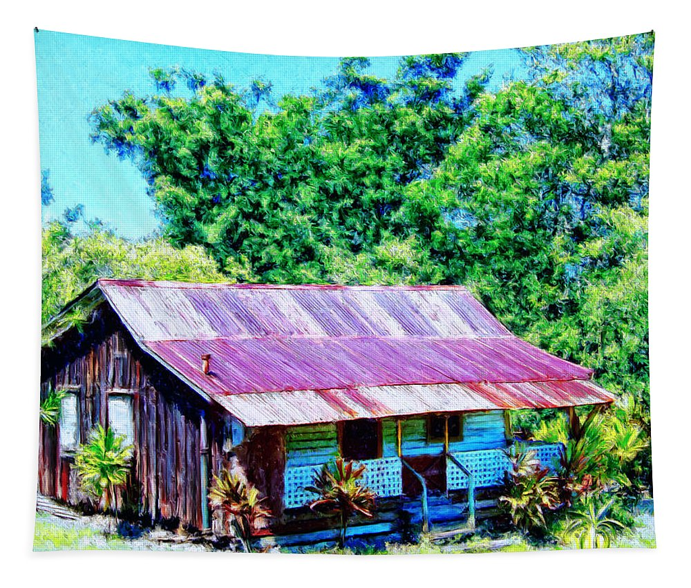 Kona Coffee Shack Tapestry featuring the painting Kona Coffee Shack by Dominic Piperata