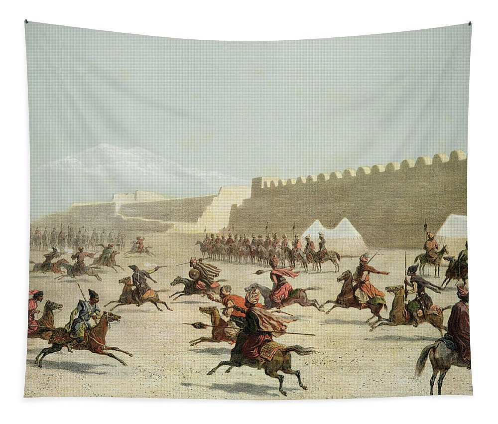 Djighit Tapestry featuring the drawing Kurdish And Tatar Warriors At Sadar by Grigori Grigorevich Gagarin