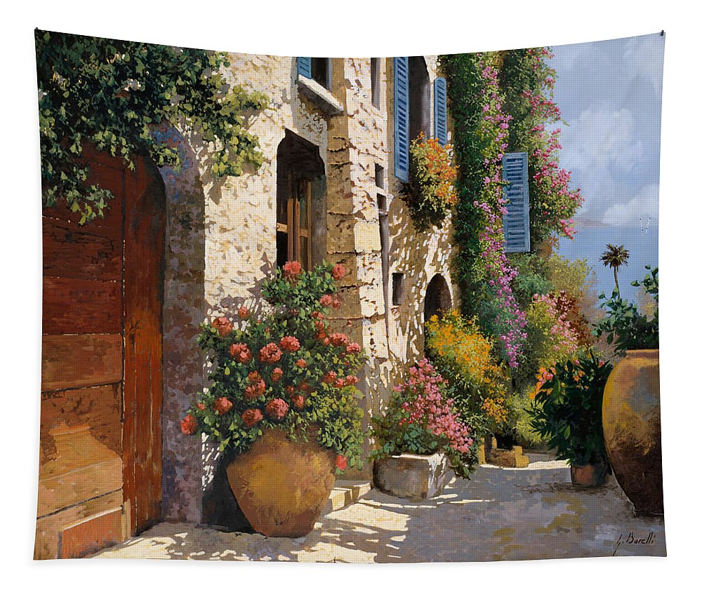 Street Scene Tapestry featuring the painting La Bella Strada by Guido Borelli