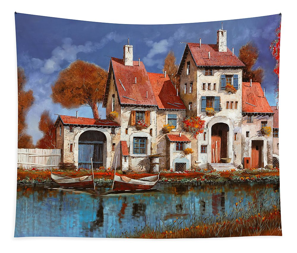 Little Village Tapestry featuring the painting La Cascina Sul Lago by Guido Borelli