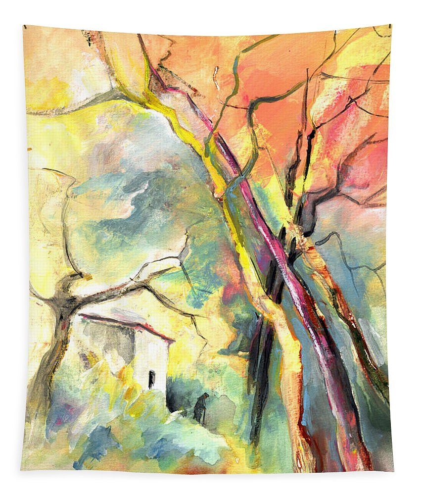 Landscapes Tapestry featuring the painting La Casita 03 by Miki De Goodaboom