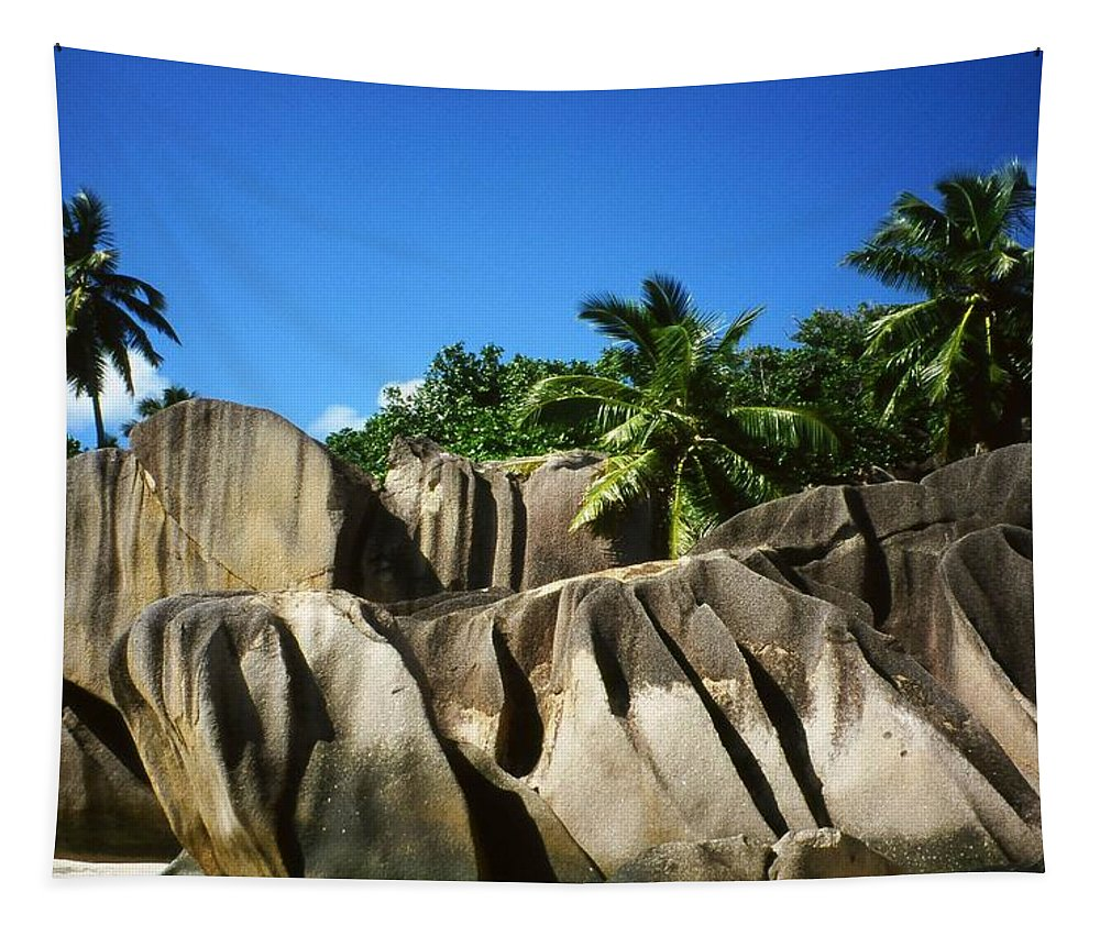 Ocean Tapestry featuring the photograph La Digue Island - Seychelles by Juergen Weiss
