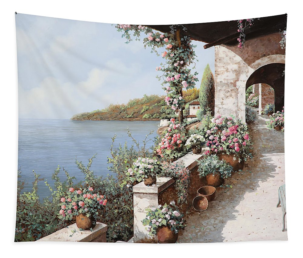 Coastal Tapestry featuring the painting La Terrazza by Guido Borelli