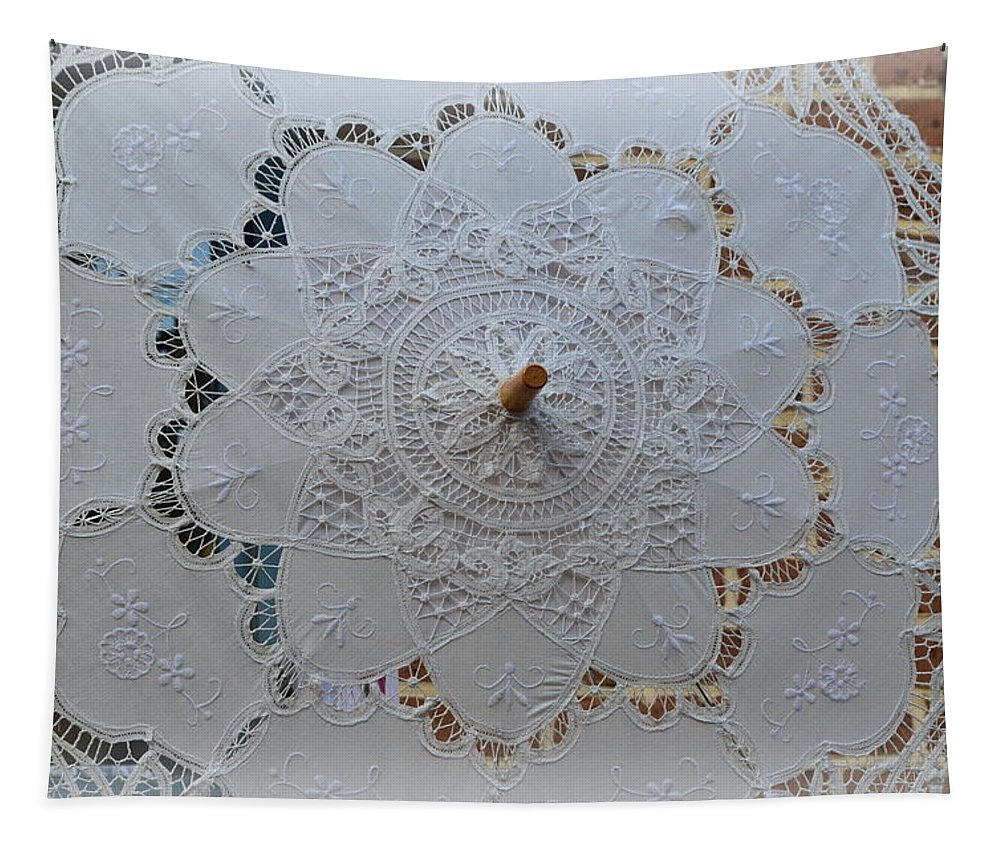 Lace Tapestry featuring the photograph Lace Umbrella by Linda Covino