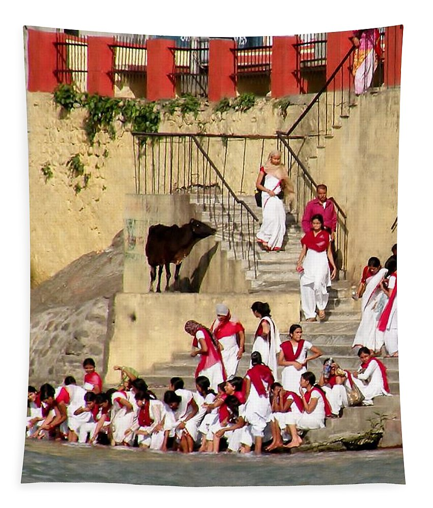 Woman Tapestry featuring the photograph Women Ascetics - Bramacharinis - On The Ashram Steps Rishikesh India by Kim Bemis