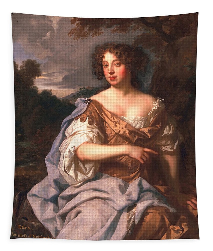 Female Tapestry featuring the painting Lady Essex Finch, Later Countess by Sir Peter Lely
