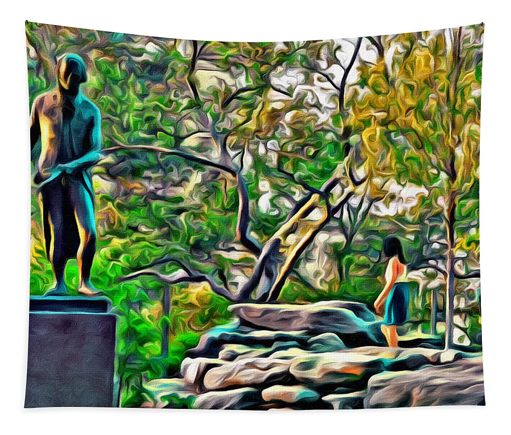 Philadelphia Tapestry featuring the photograph Lady On The Rocks by Alice Gipson
