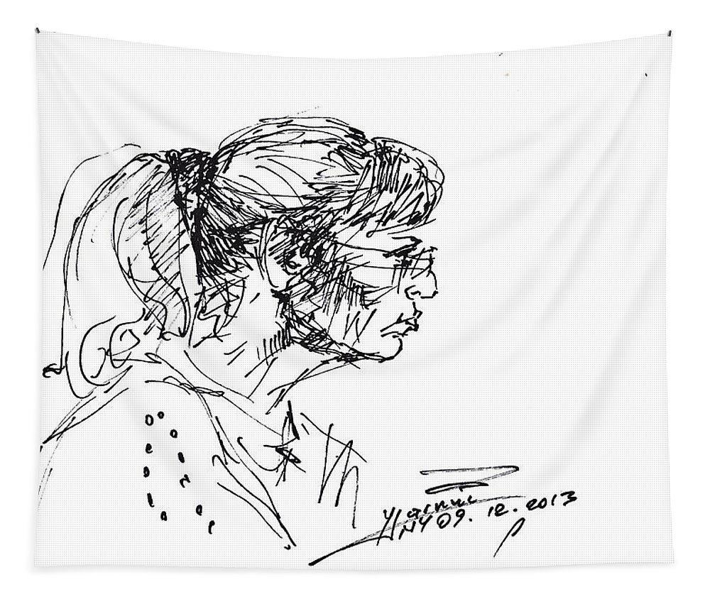 Lady Profile Tapestry featuring the drawing Lady Profile by Ylli Haruni