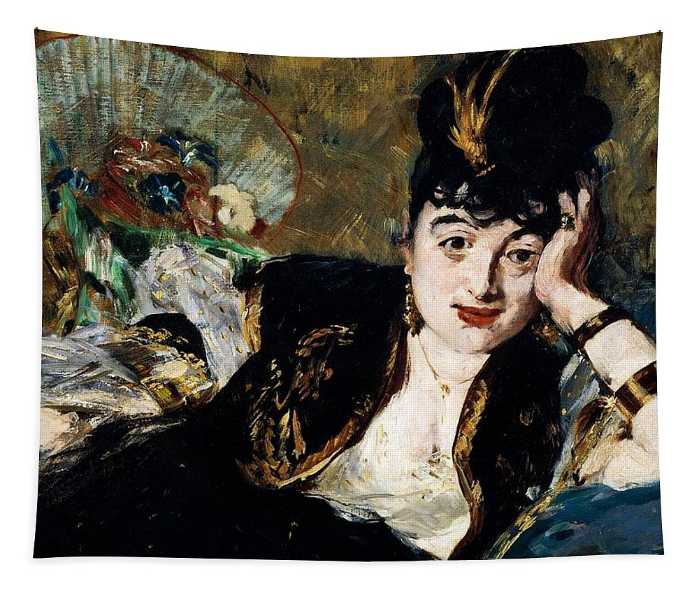 Art; Painting; 19th Century Painting; Jewels; States Of Mind; Europe; France; Manet Edouard; Female Portrait; Hairstyle; Impressionism Tapestry featuring the painting Lady With Fan Portrait Of Marie Anne De Callias Known As Nina De Callias by Edouard Manet