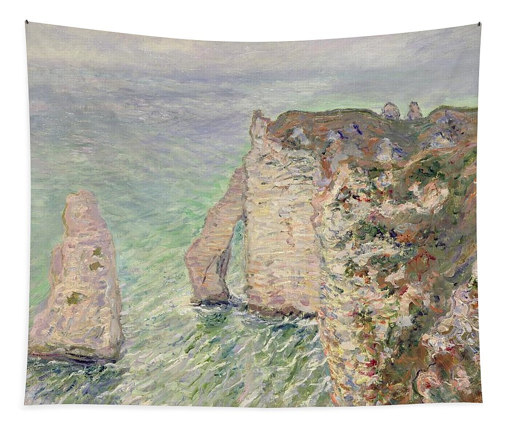 French Tapestry featuring the painting Laiguille And The Porte Daval  Etretat by Claude Monet