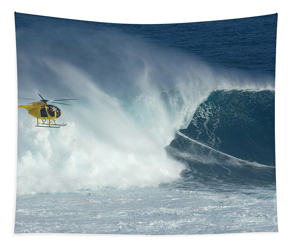 Laird Hamilton Tapestry featuring the photograph Laird Hamilton Going Left At Jaws by Bob Christopher
