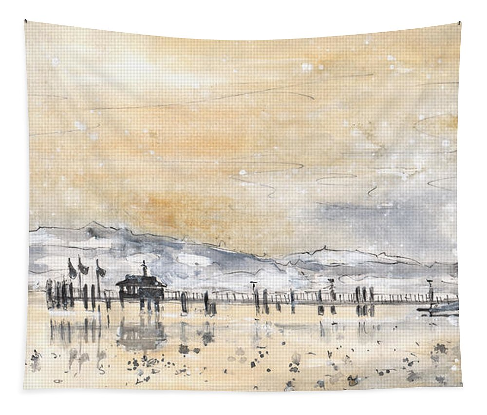 Travel Tapestry featuring the painting Lake Constance In Winter by Miki De Goodaboom