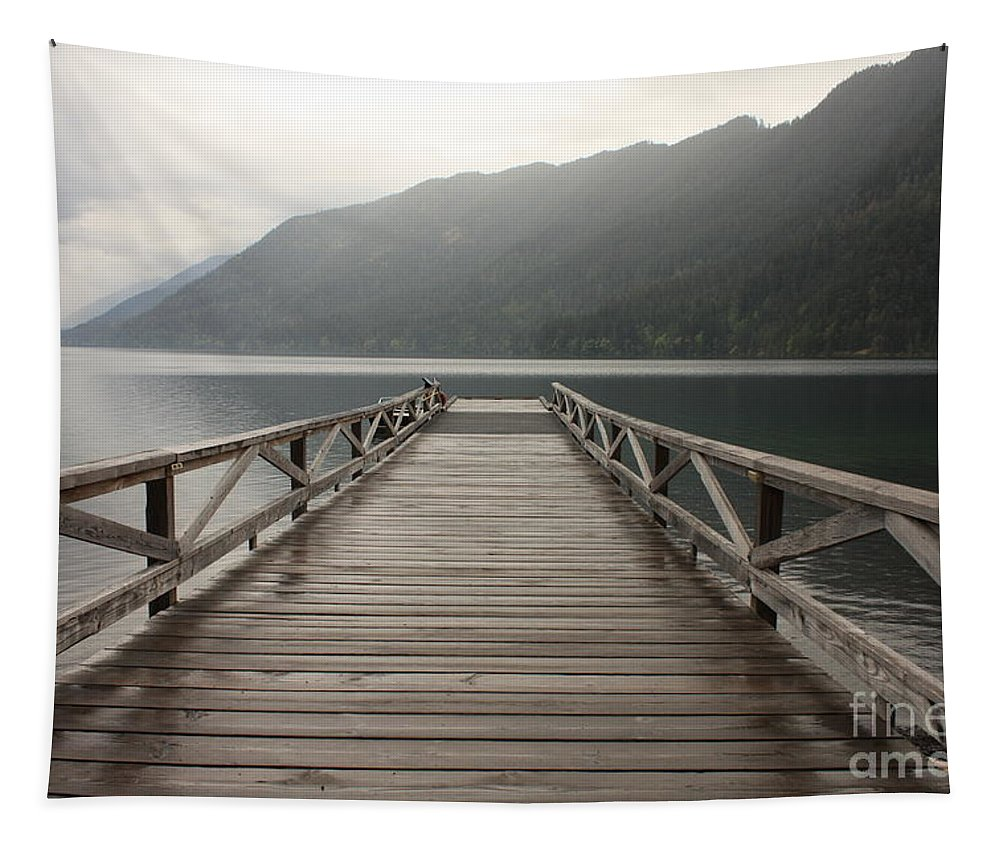 Lake Crescent Tapestry featuring the photograph Lake Crescent Dock by Carol Groenen