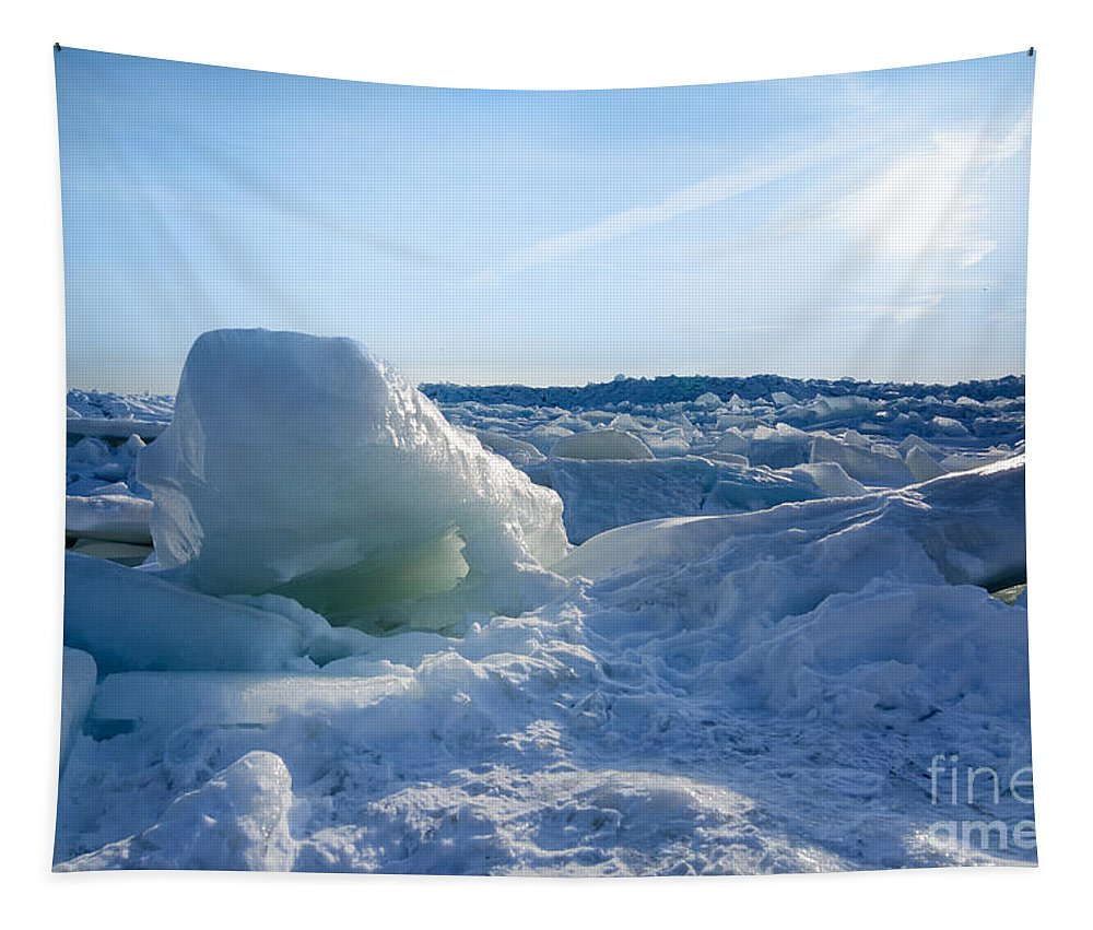 Winter Tapestry featuring the photograph Lake Erie Ice Sunrise by Michael Shake