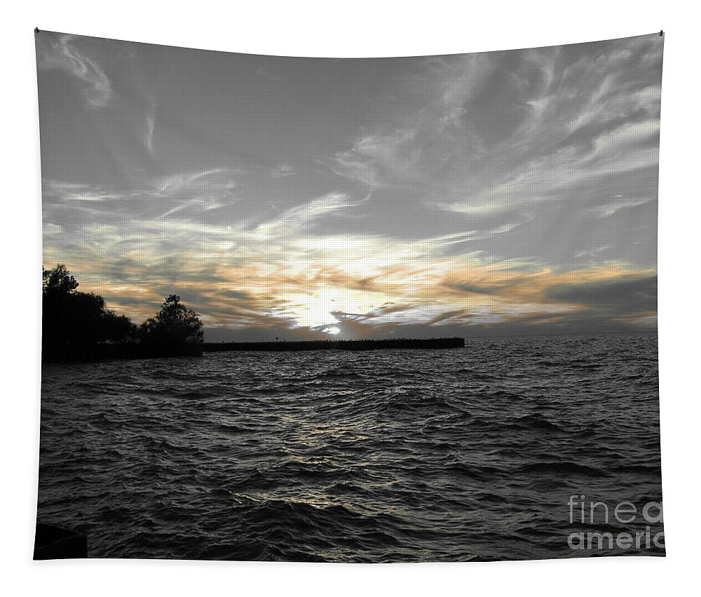 Lake Erie Tapestry featuring the photograph Lake Erie Lights by Michael Krek