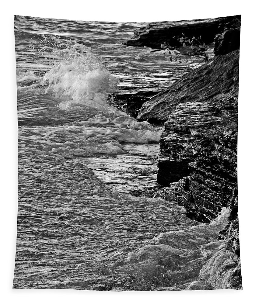 Black And White Waves Tapestry featuring the photograph Lake Erie Waves by Dan Sproul