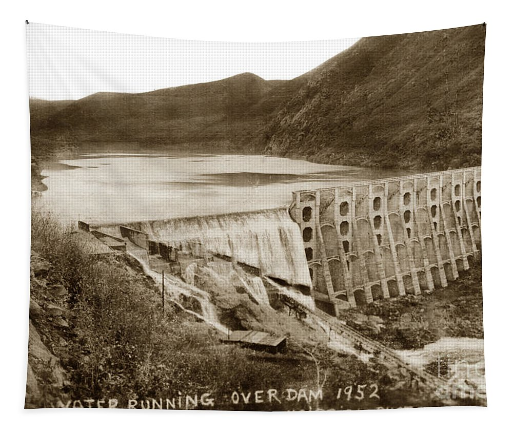 Lake Hodges Tapestry featuring the photograph Lake Hodges And Dam San Diego County California 1952 by California Views Archives Mr Pat Hathaway Archives