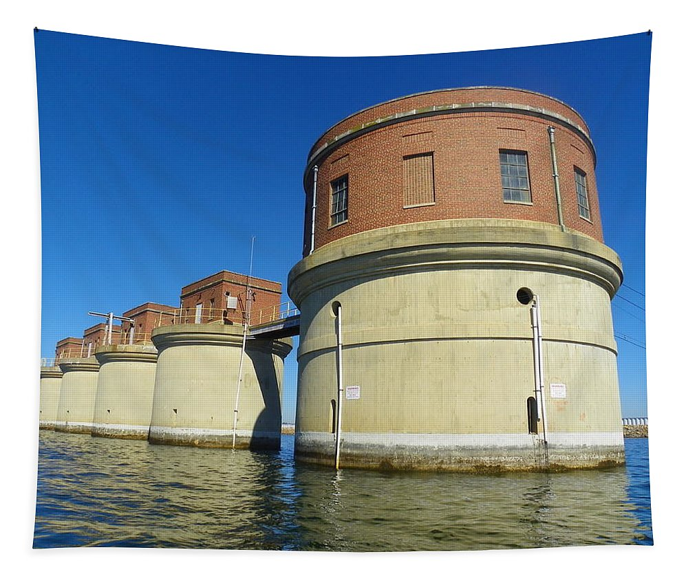 Lake Murray Sc Dam Tapestry featuring the photograph Lake Murray Sc Dam by Lisa Wooten