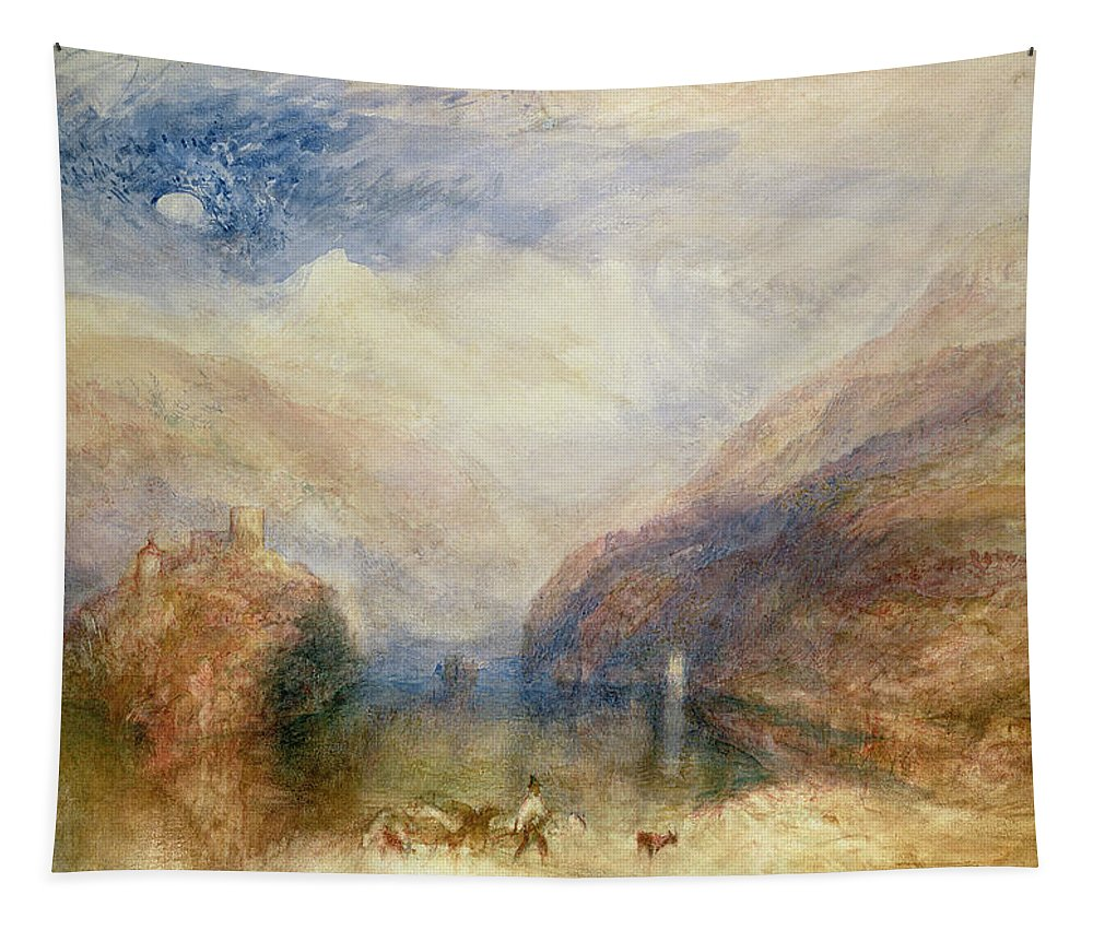 Moon Tapestry featuring the drawing Lake Of Brienz by Joseph Mallord William Turner