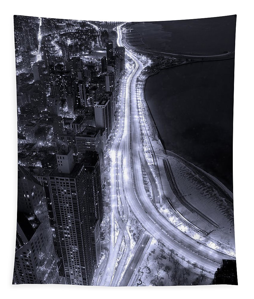 Beach Tapestry featuring the photograph Lake Shore Drive Aerial B And W by Steve Gadomski