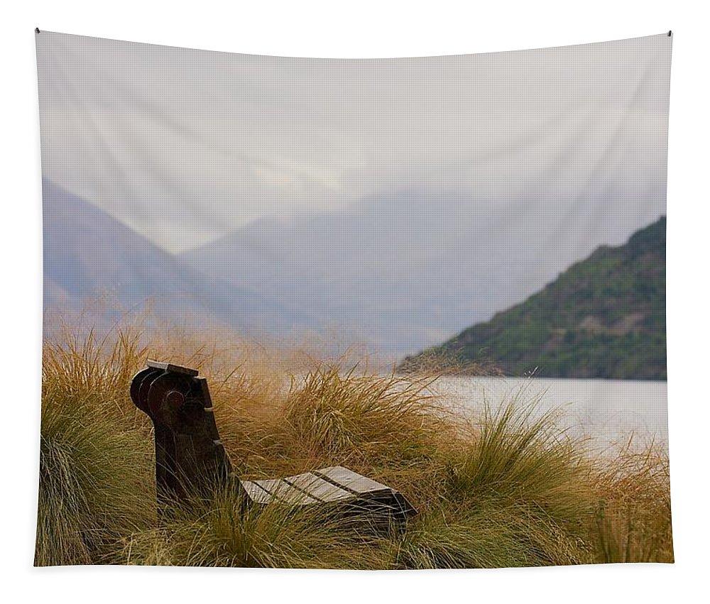 New Zealand Tapestry featuring the photograph Lake Wakatipu Bench by Stuart Litoff