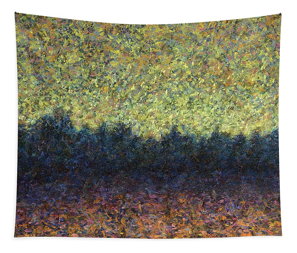 Lakeshore Tapestry featuring the painting Lakeshore Sunset by James W Johnson