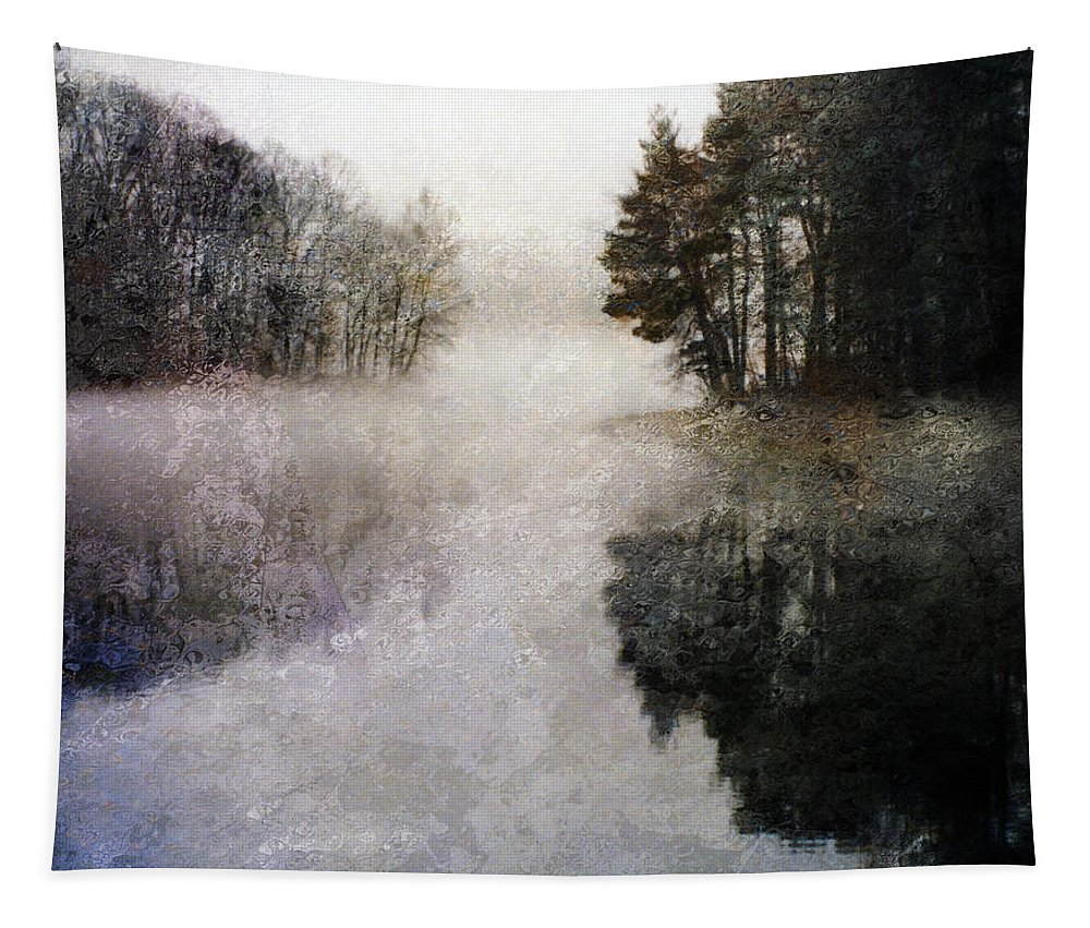 Impression Tapestry featuring the digital art Lakeside Trees by Bruce Rolff
