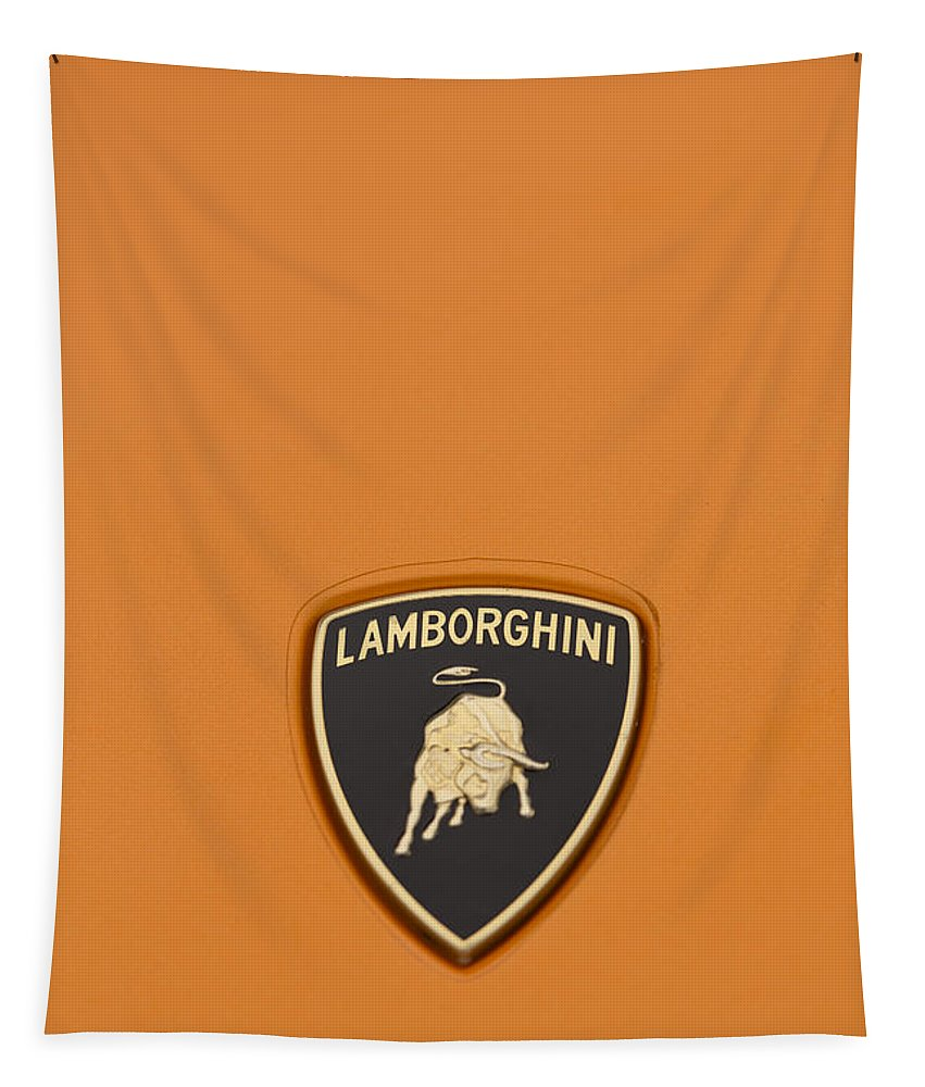 Lamborghini Tapestry featuring the photograph Lambo Hood Ornament Orange by Scott Campbell