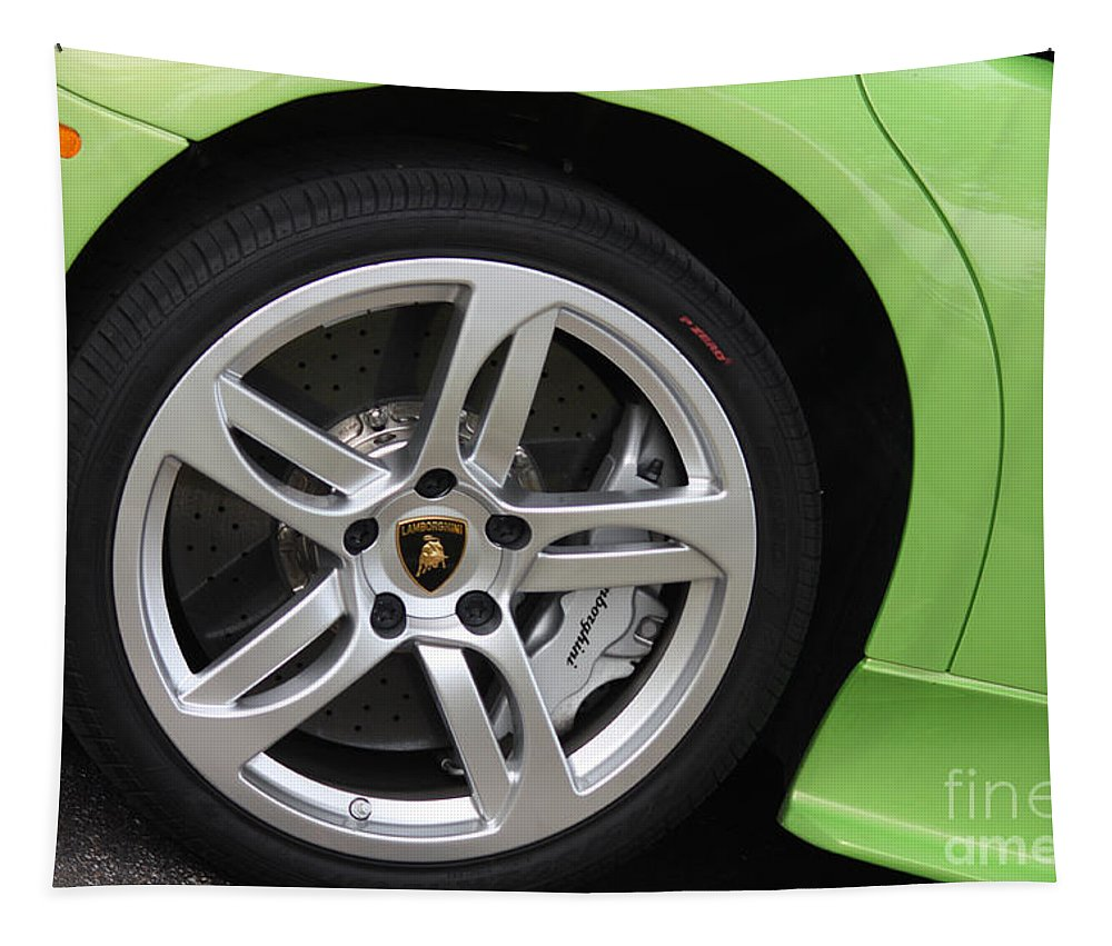 Lamborghini Tapestry featuring the photograph Lambowheel8680 by Gary Gingrich Galleries