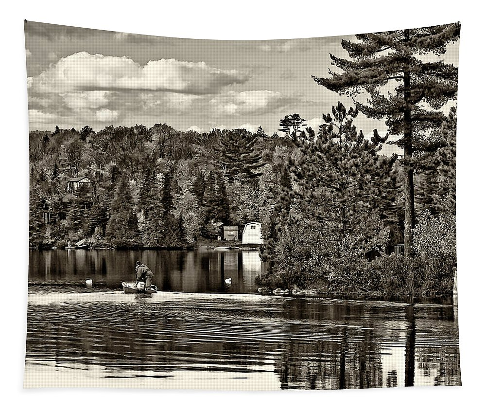 Wilderness Tapestry featuring the photograph Land Of Lakes Sepia by Steve Harrington
