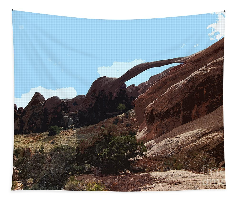 Landscape Arch Tapestry featuring the photograph Landscape Arch In Arches National Park by Catherine Sherman