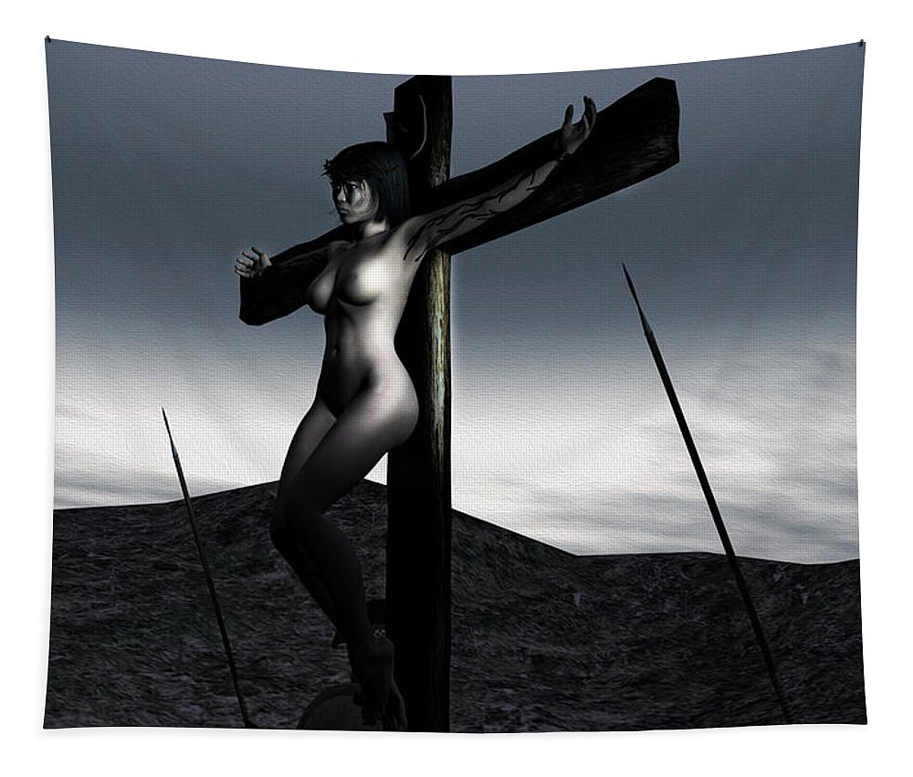 Landscape Tapestry featuring the digital art Landscape Crucifiction by Ramon Martinez