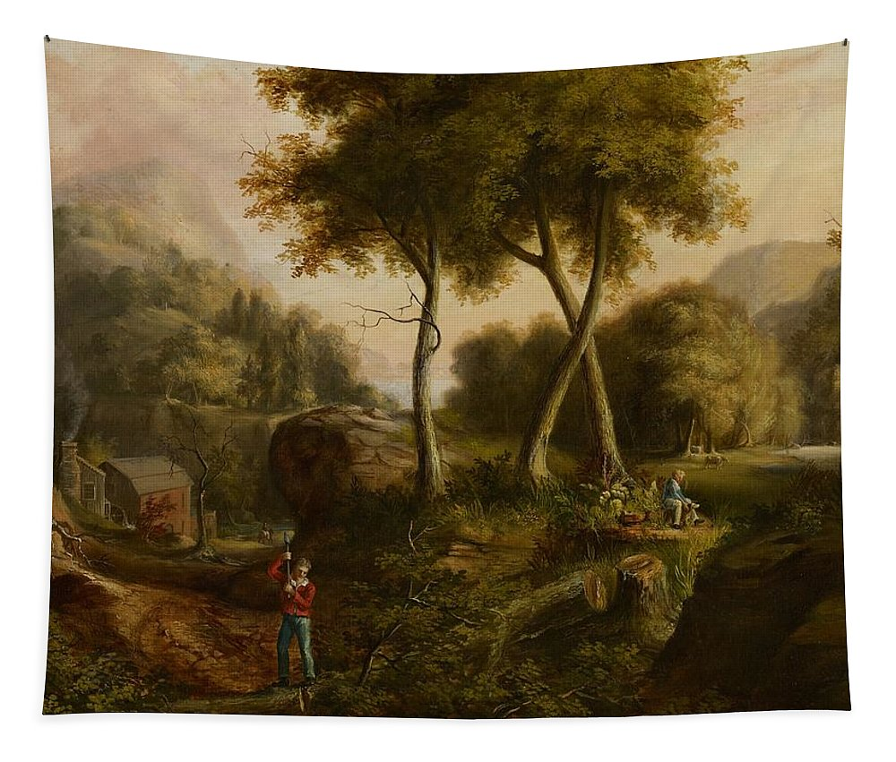 Hudson River School; Landcsape; Mountains; Mountainous; Figure; Woodcutter; Woodsman; Bucolic; Cottage; Building; Exterior; House; Lake; Boy; Dog; Cows; Rider; Horse; Chopping; Axe; Timber; Trees; Trees; Idealised; Romanticism; Naturalism; Nature; Tree Tapestry featuring the painting Landscape by Thomas Cole
