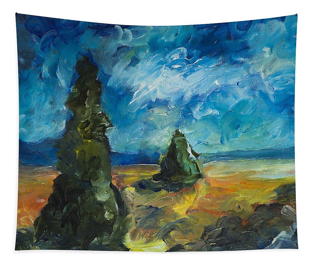 Yulia Kazansky Art Tapestry featuring the painting Emerald Spires by Yulia Kazansky