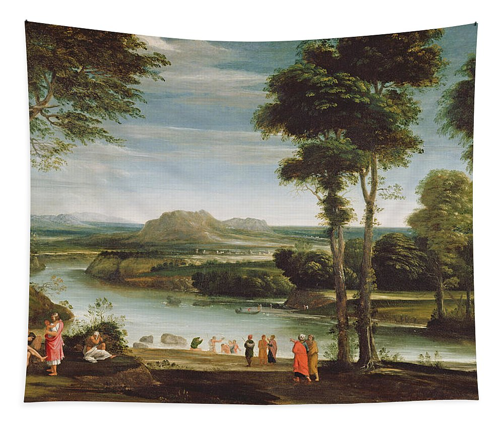 River Tapestry featuring the painting Landscape With St. John Baptising by Domenichino