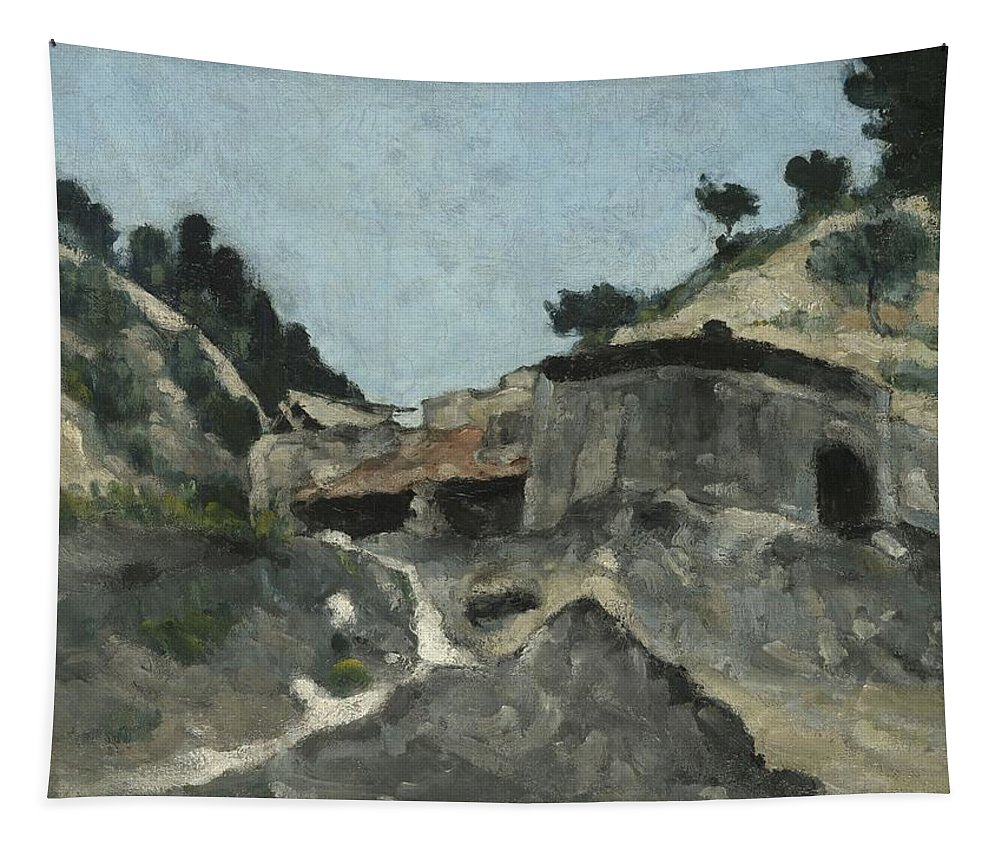 Landscape Tapestry featuring the painting Landscape With Water Mill, C.1871 by Paul Cezanne